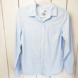 Soft Blue Button Down Chambray Shirt Top